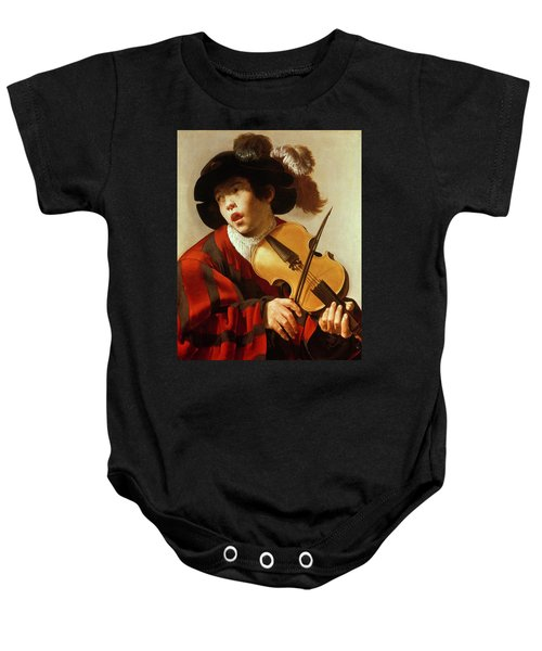 Boy Playing Stringed Instrument And Singing Baby Onesie