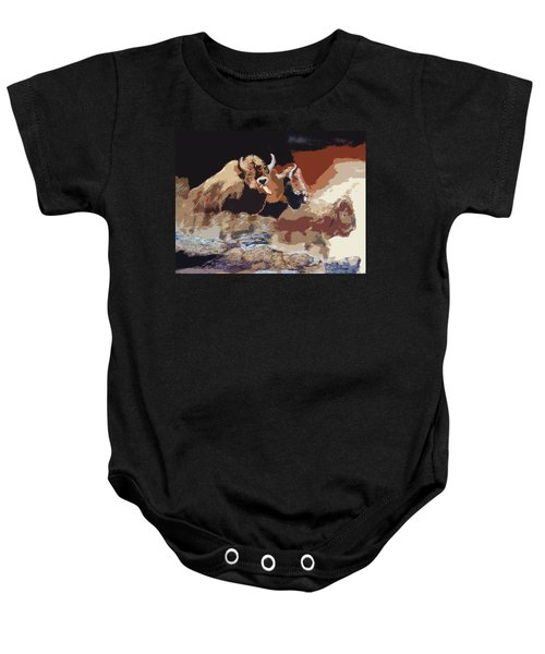 010316 Ancient Buffalo Hunt Baby Onesie