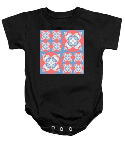 Abstract Mandala White, Pink And Blue Pattern For Home Decoration Baby Onesie