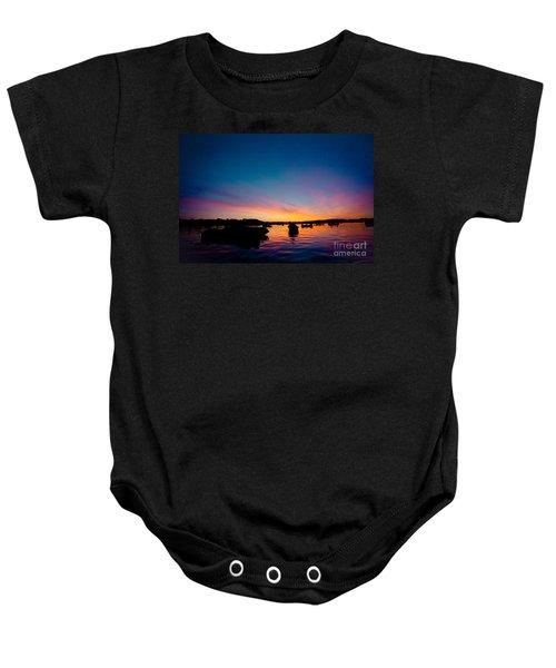 Boats And Sunrise Above Lake Water Summer Time Latvia Ezera Skanas Baby Onesie