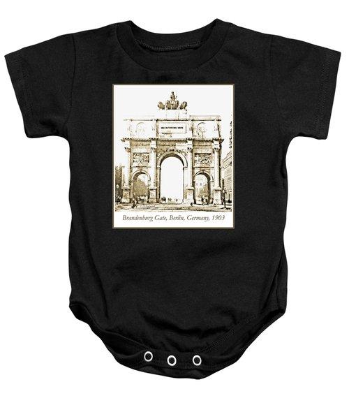 Brandenburg Gate, Berlin Germany, 1903, Vintage Image Baby Onesie