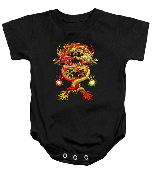 Brotherhood Of The Snake - The Red And The Yellow Dragons Baby Onesie by Serge Averbukh