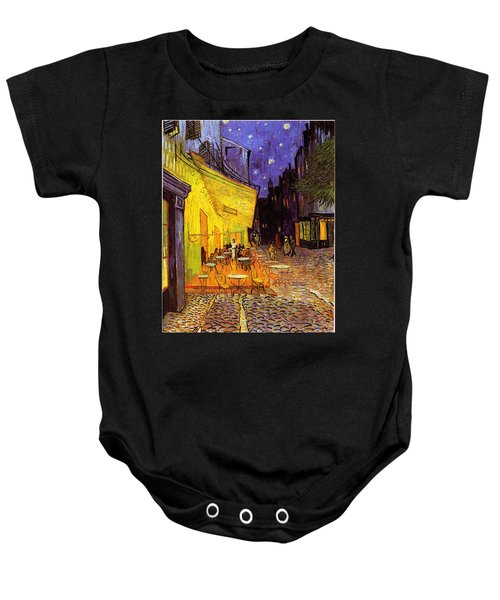 Baby Onesie featuring the painting Cafe Terrace At Night by Van Gogh