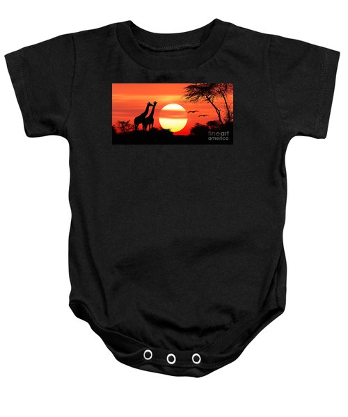 Giraffes At Sunset Baby Onesie
