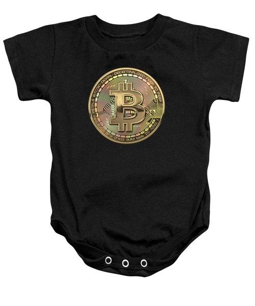 Gold Bitcoin Effigy Over Black Canvas Baby Onesie