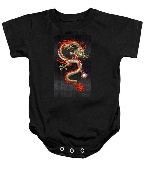 Golden Chinese Dragon Fucanglong  Baby Onesie