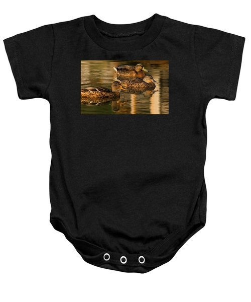 Mallards Swimming In The Water At Magic Hour Baby Onesie