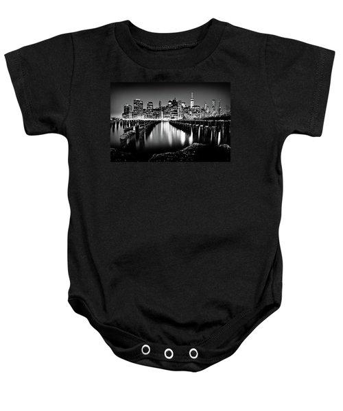 Manhattan Skyline At Night Baby Onesie