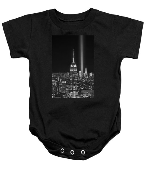 New York City Tribute In Lights Empire State Building Manhattan At Night Nyc Baby Onesie by Jon Holiday