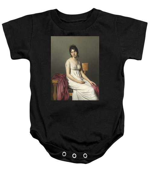 Portrait Of A Young Woman In White Baby Onesie