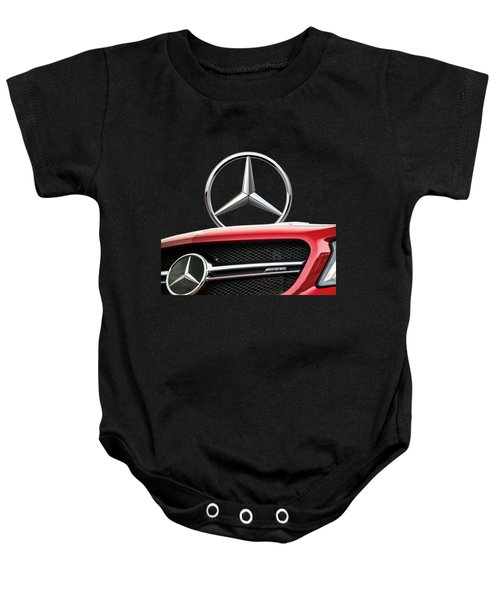 Red Mercedes - Front Grill Ornament And 3 D Badge On Black Baby Onesie by Serge Averbukh