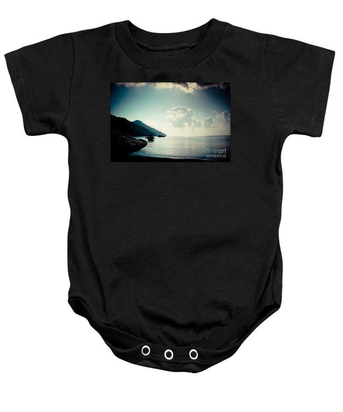 Seascape Sunrise Sea And Clouds  Baby Onesie