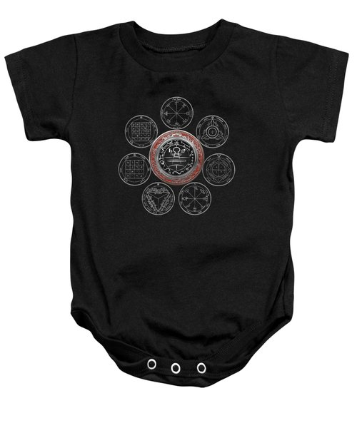 Silver Seal Of Solomon Over Seven Pentacles Of Saturn On Black Canvas  Baby Onesie