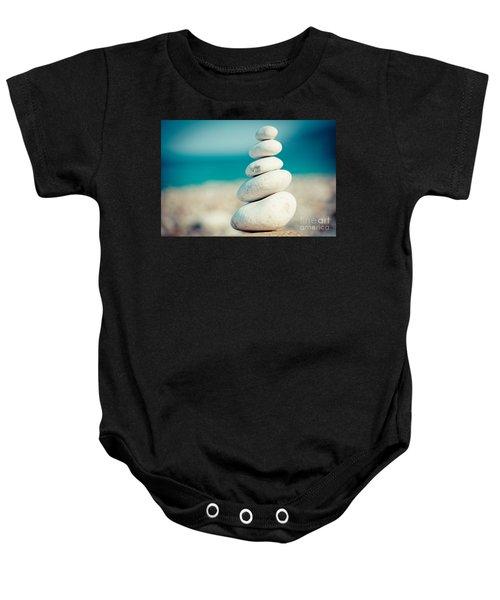 Stupa At Sea Coast Seascape Buddha Baby Onesie