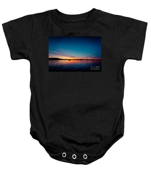 Sunrise Above Lake Water Summer Time Latvia Ezera Skanas Baby Onesie