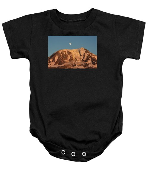 Sunset And Moonrise At Mt Adams Baby Onesie