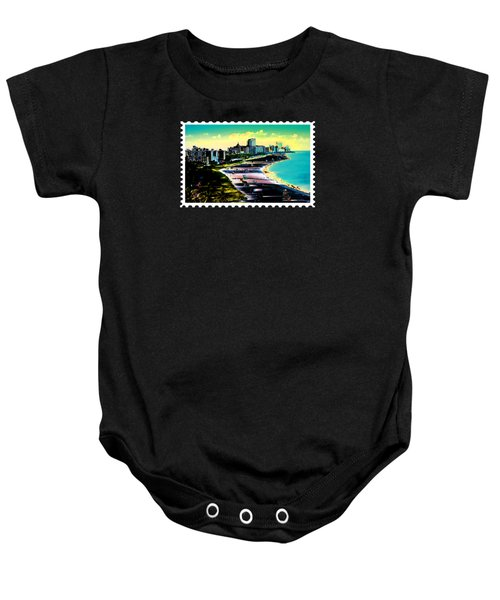 Surreal Colors Of Miami Beach Florida Baby Onesie by Elaine Plesser