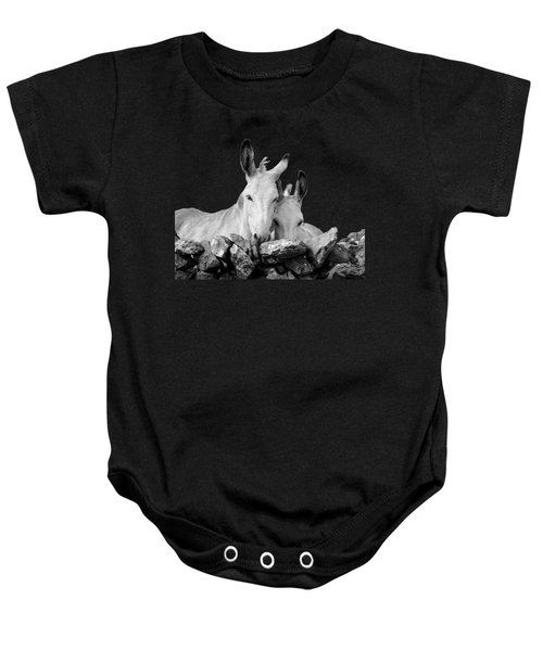 Two White Irish Donkeys Baby Onesie by RicardMN Photography
