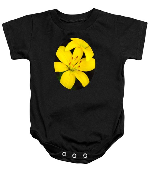 Yellow Lily Flower Baby Onesie by Christina Rollo