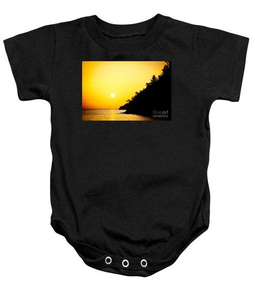Yellow Sunrise Seascape And Sun Artmif Baby Onesie