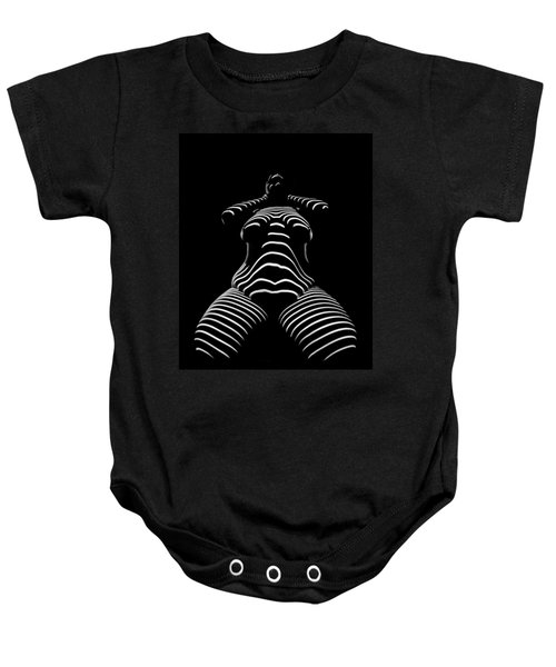 1422-tnd Zebra Woman Big Girl Striped Woman Black And White Abstract Photo By Chris Maher Baby Onesie