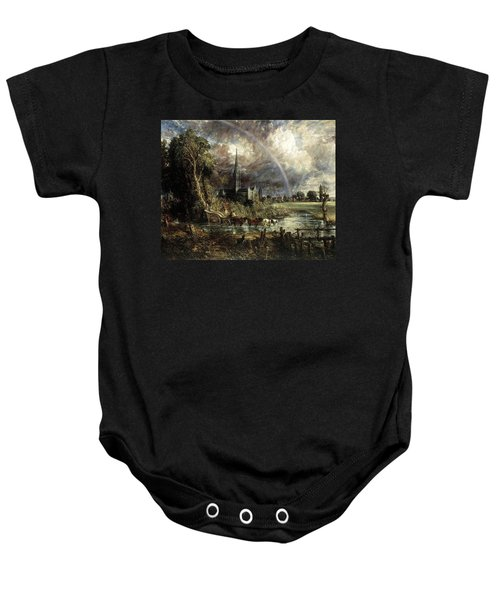 Salisbury Cathedral From The Meadows Baby Onesie