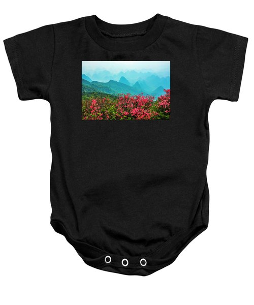 Blossoming Azalea And Mountain Scenery Baby Onesie
