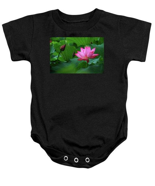 Blossoming Lotus Flower Closeup Baby Onesie