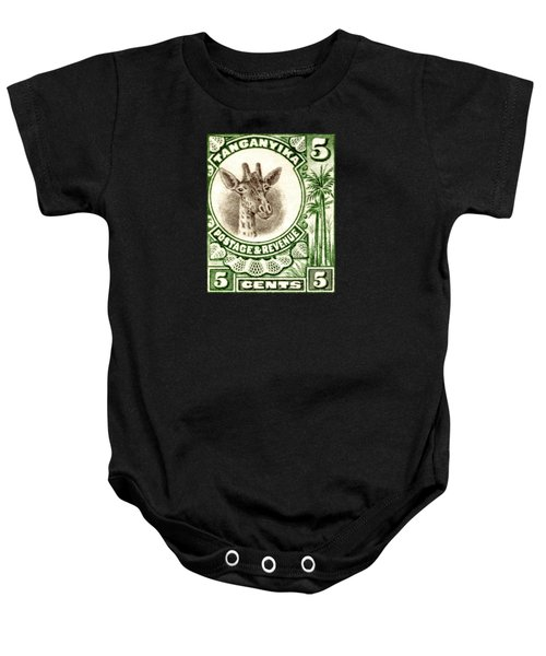 1922 East African Giraffe Stamp Baby Onesie by Historic Image