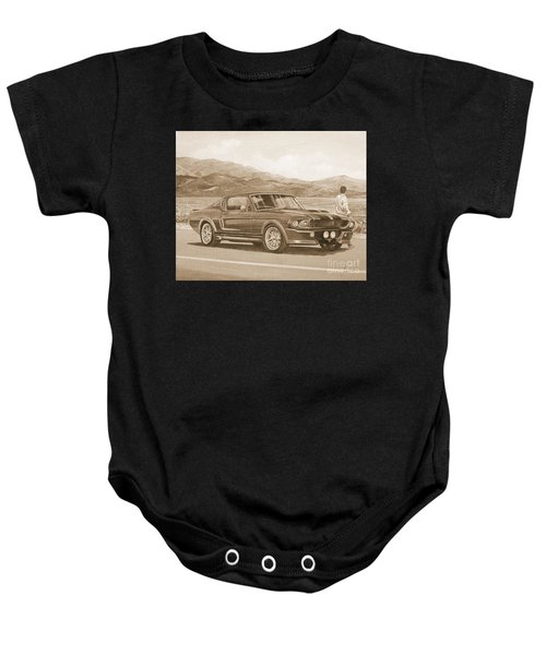 1967 Ford Mustang Fastback In Sepia Baby Onesie