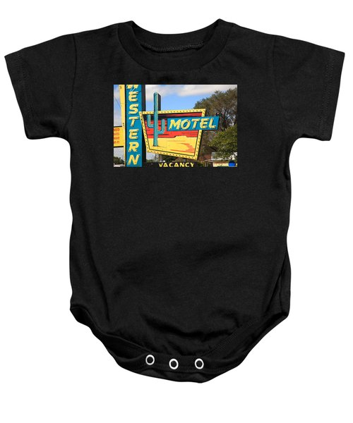 Baby Onesie featuring the photograph Route 66 - Western Motel by Frank Romeo