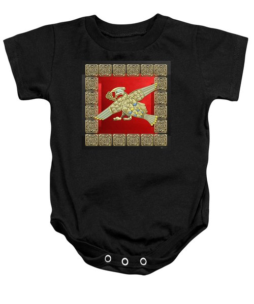 Sacred Celtic Bird On Red And Black Baby Onesie