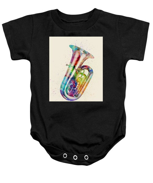 Tuba Abstract Watercolor Baby Onesie