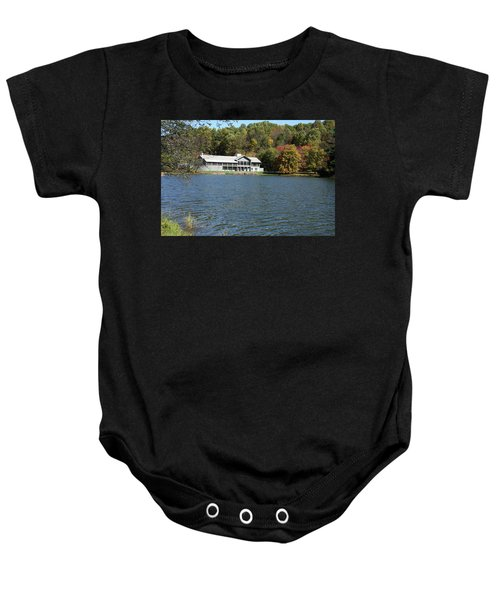 View Of Peaks Of Otter Lodge And Abbott Lake  In Autumn Baby Onesie