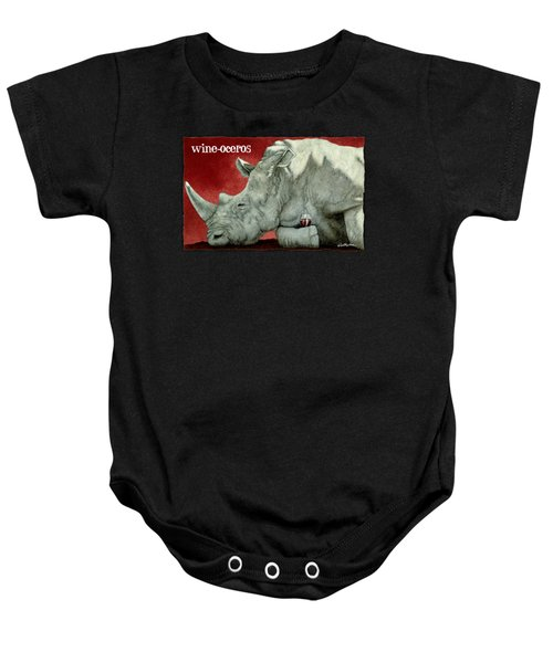 Wine-oceros Baby Onesie by Will Bullas