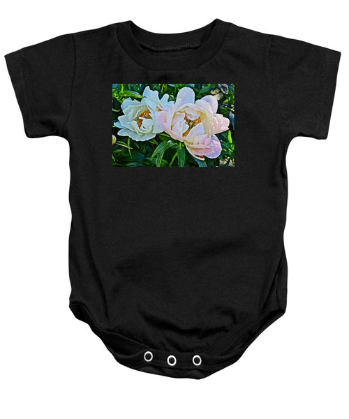 2015 Summer's Eve At The Garden White Peony Duo Baby Onesie