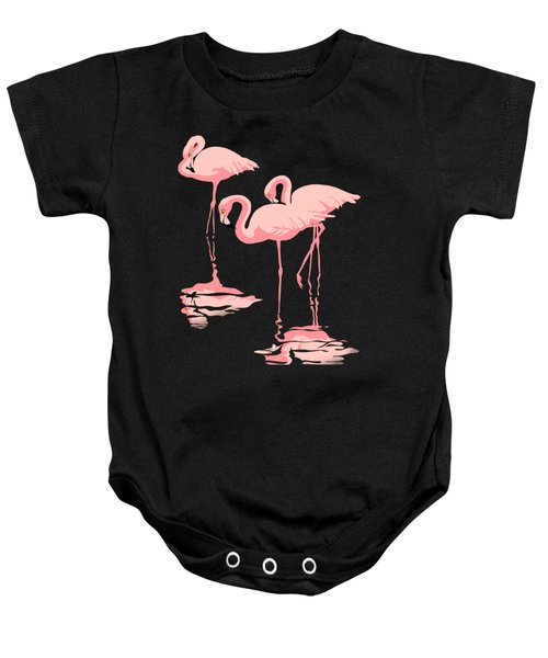 3 Pink Flamingos Baby Onesie by Walt Curlee