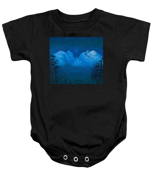 Winter Night In The Mountains Baby Onesie