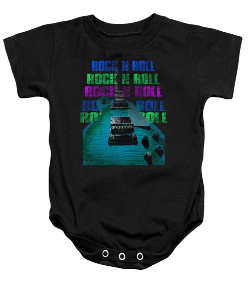 Baby Onesie featuring the photograph Colorful Music Rock N Roll Guitar Retro Distressed  by Guitar Wacky