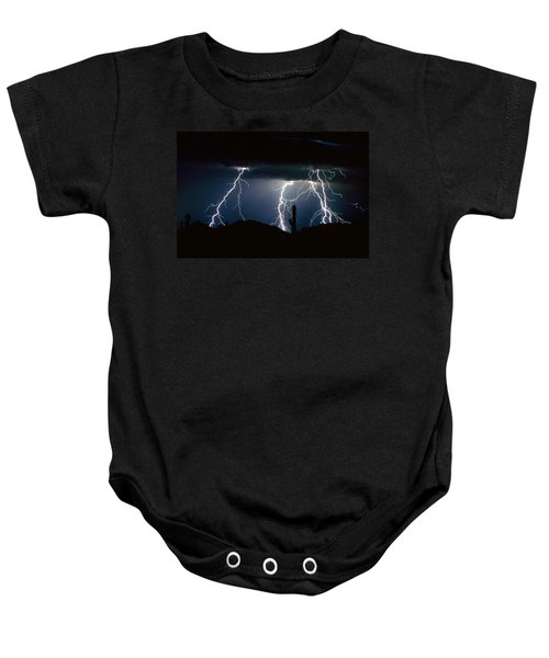 4 Lightning Bolts Fine Art Photography Print Baby Onesie