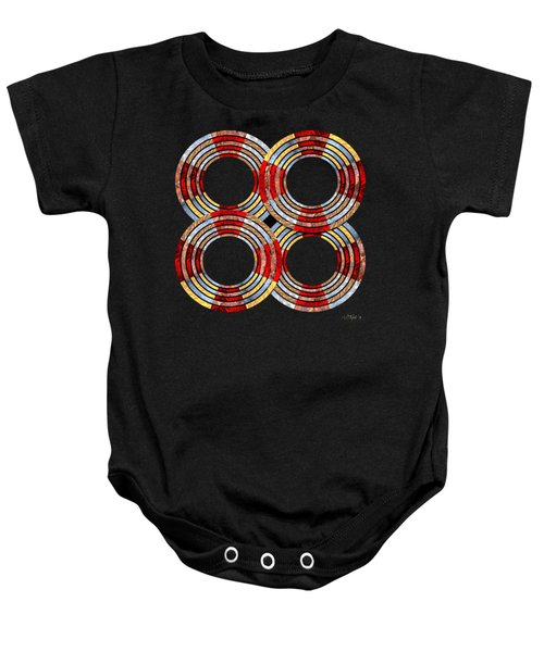 6 Concentric Rings X 4 Baby Onesie