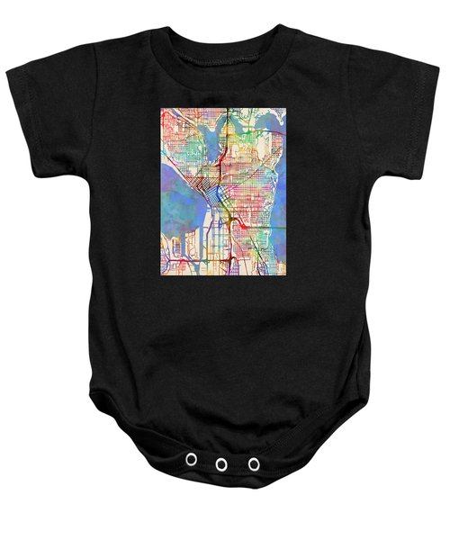 Seattle Washington Street Map Baby Onesie