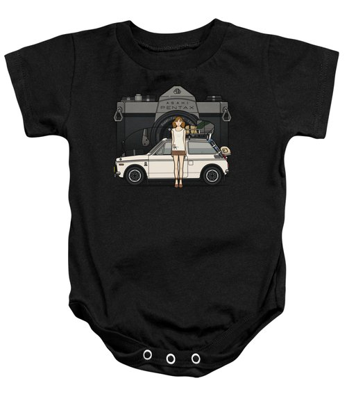 Honda N600 Rally Kei Car With Japanese 60's Asahi Pentax Commercial Girl Baby Onesie