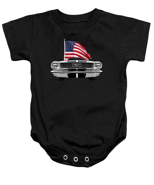 66 Mustang With U.s. Flag On Black Baby Onesie