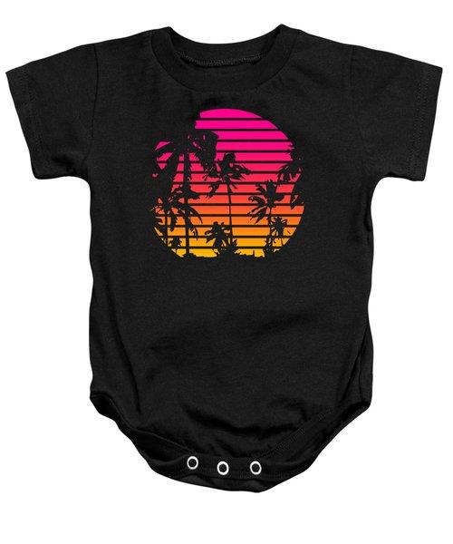 80s Tropical Sunset Baby Onesie