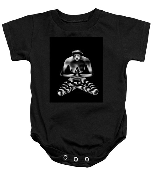 9448-dja Lotus Position Zebra Stripe Abstraction Black White Photograph By Chris Maher Baby Onesie