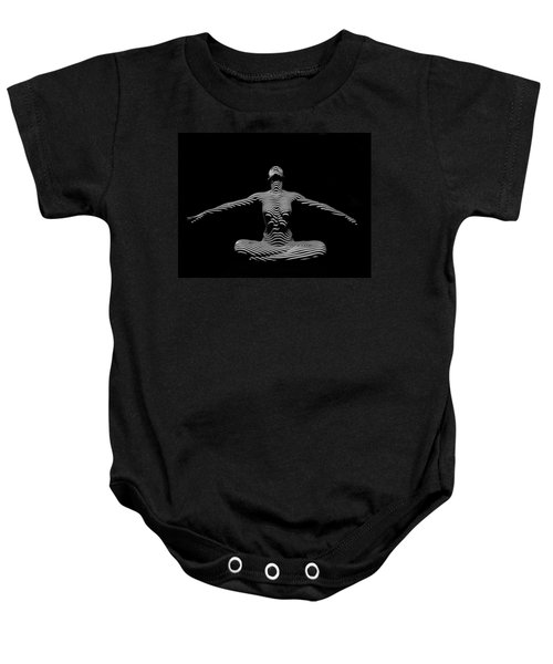 9928-dja Zebra Striped Woman Lotus Arms Out Abstract Black And White By Chris Maher Baby Onesie