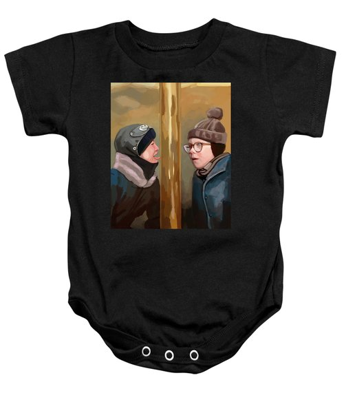 A Christmas Story Tongue Stuck To Pole Baby Onesie