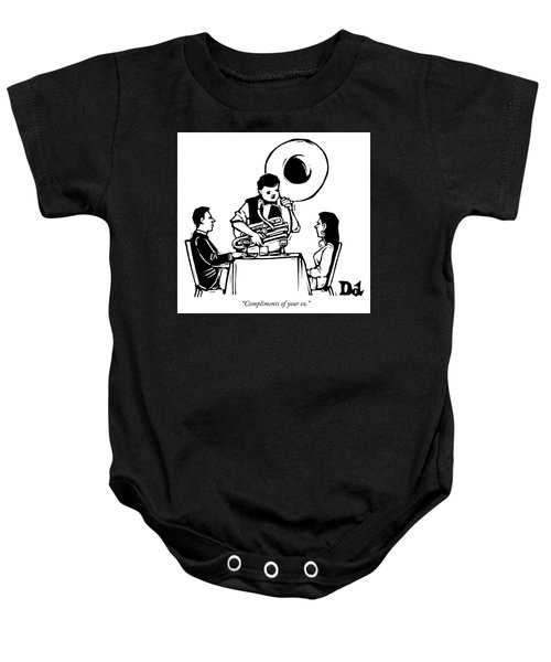 A Couple Seated At A Restaurant Face A Man Who Baby Onesie