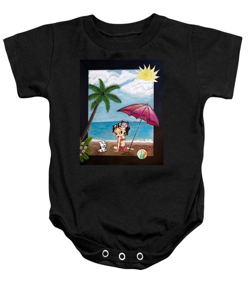 A Day At The Beach Baby Onesie by Teresa Wing